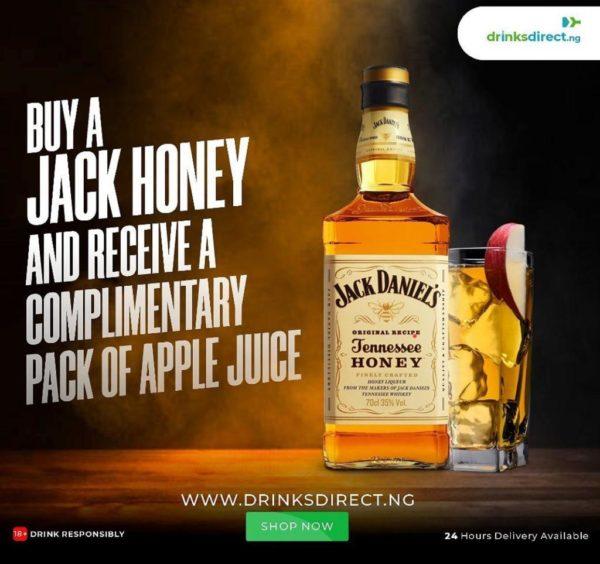 Jack Daniel Honey and Free Apple juice